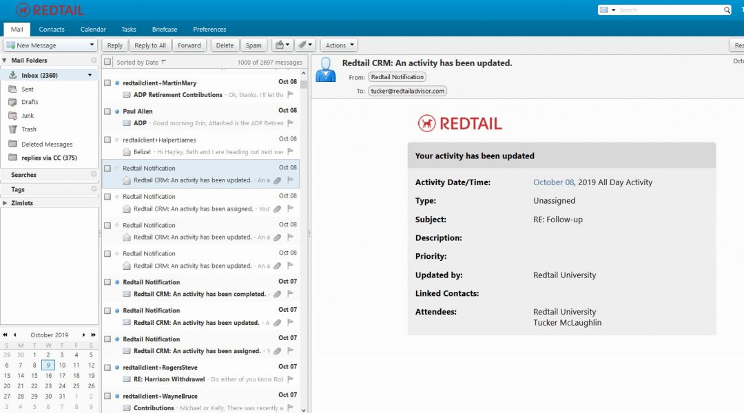 Redtail email screenshot