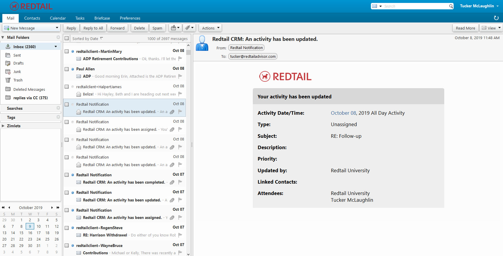Redtail email webmail platform screenshot