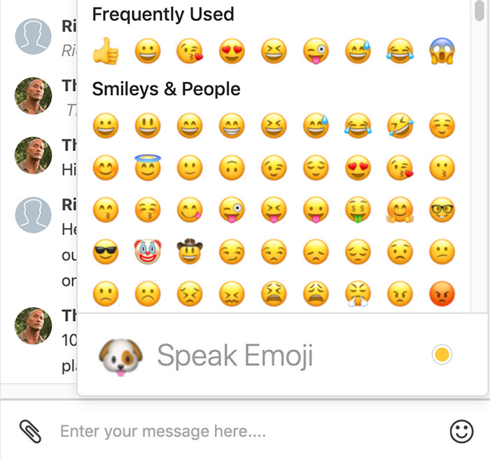 Redtail speak emoji screenshot